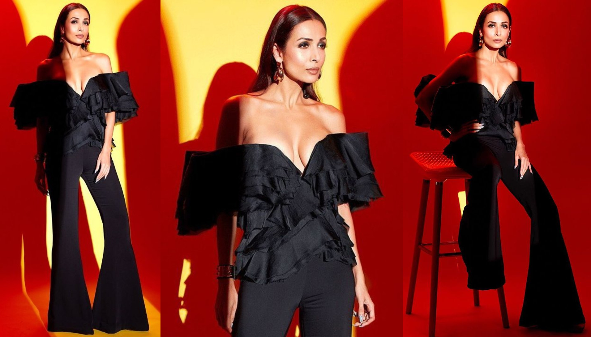 Malaika Arora in all-black off-shoulder top and flare pants adds her sexy charm to shoot